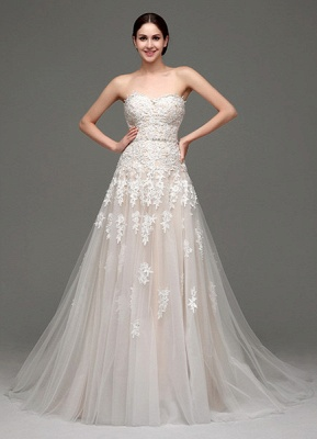 Wedding Dresses Champagne Tulle Strapless Sweatheart Lace Sash Bridal Gown_1