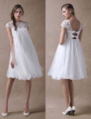 Simple Wedding Dresses Short Empire Waist Lace Tulle Cap Sleeve Pregnant Bridal Dress Exclusive_1