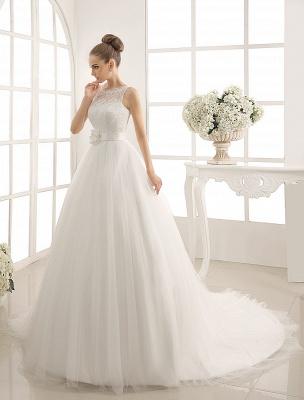 Bateau Neck Wedding Dress With Chapel Train_3