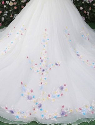 Flowers Quinceanera Dresses White Luxury Off The Shoulder Rhinestones Beading Short Sleeve Women'S Pageant Dresses With Train_8