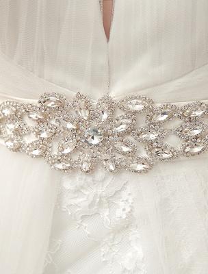 Brautkleider Ballkleid Brautkleid Langarm Spitze Applique Perlen Strass Schärpe Illusion Ausschnitt Brautkleid Mit Zug Exklusiv_10