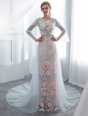 Colored Wedding Dresses Baby Blue Lace Long Sleeve Bridal Dress With Train_2