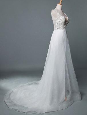 Robe de mariée de plage une ligne sans manches col en V haute Split longueur de plancher dos nu robe de mariée sexy_2