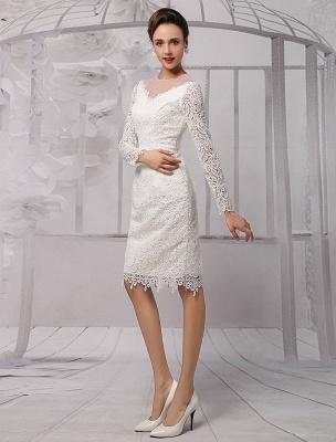 Vestidos de novia sencillos 2021 Corto Manga larga Escote de ilusión Koyhole Hasta la rodilla Vestido de novia con vaina Exclusivo_4