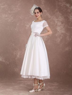Vintage Wedding Dress Short Sleeve 1950'S Bridal Dress Backless Polka Dot Lace Trim Ivory Wedding Reception Dress Exclusive_5