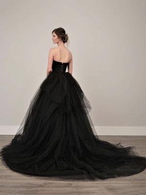 Black Wedding Dresses A-Line Strapless Pleated Taffeta Tulle Chapel Train Bridal Dress_5