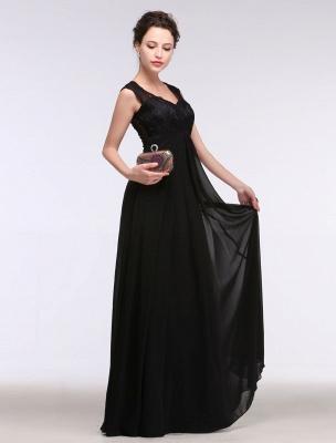Black Evening Dress Lace Sweatheart Maxi Party Dress A Line Sleeveless Floor Length Mother'S Dress_8
