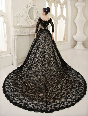 Black Wedding Dress A-Line Scoop Neck Sequin Chapel Train Lace Wedding Gown Exclusive_4