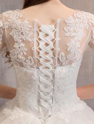 Elfenbein Brautkleider Tüll Illusion Ausschnitt Halbarm Bodenlangen Prinzessin Brautkleid_10