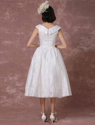 Vintage Wedding Dress Satin Short Bridal Gown Lace Beading Tea Length Reception Bridal Dress Detachable Bow Sash Exclusive_3