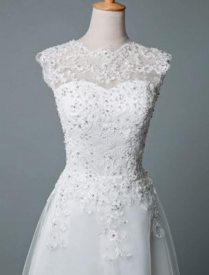 Vestido de novia vintage Hasta el té Cuello joya Sin mangas Una línea Cintura natural Tul Vestido de novia corto Exclusivo_4