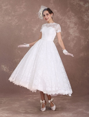 Lace Wedding Dresses Short Sleeve 1950'S Vintage Bridal Dress Sweetheart Illusion Ivory A Line Tea Length Wedding Reception Dress Exclusive_1