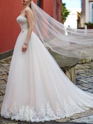 Robe de mariée Sweetheart Neck Longueur au sol sans manches Robes de mariée en dentelle avec train_3