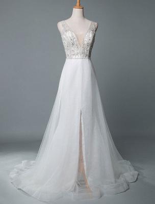 Robe de mariée de plage une ligne sans manches col en V haute Split longueur de plancher dos nu robe de mariée sexy_1