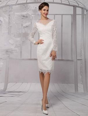 Vestidos de novia sencillos 2021 Corto Manga larga Escote de ilusión Koyhole Hasta la rodilla Vestido de novia con vaina Exclusivo_2