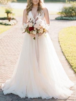 A Line Wedding Dress Ivory Blackless V Neck Spaghetti Straps Wedding Dress_1