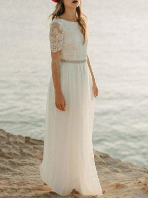 Einfache Hochzeitskleid A-Linie Jewel Neck Spitze Kurzarm Bodenlangen Chiffon Strandhochzeit Brautkleider_2