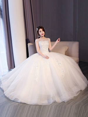 Princess Wedding Dresses Lace Beaded Ball Gowns Sleeveless Floor Length Bridal Dress_6