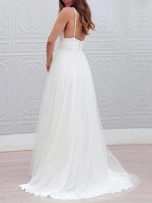 Einfache Brautkleider 2021 A Line V-Ausschnitt Träger Rückenfreies Tüll Brautkleid für die Strandhochzeit_2