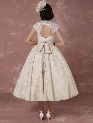 Kurzes Brautkleid Spitze Champagner Vintage Brautkleid Ballkleid Perlen Backless Tee-Länge Brautkleid Mit Schärpe Exklusiv_8