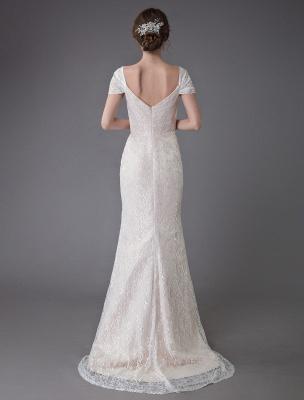 Robe de mariée en dentelle crème vanille chérie robe de mariée à manches courtes robe de mariée sirène avec train exclusif_7
