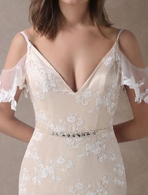 Boho Brautkleider Champagner Spitze Strand Brautkleid Meerjungfrau V-Ausschnitt Backless Perlen Sommer Brautkleider Exklusiv_7