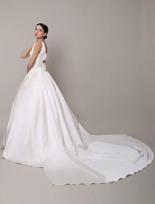 Vestido de novia de encaje con espalda descubierta y cuello barco con bolsillos de inserción Exclusivo_4