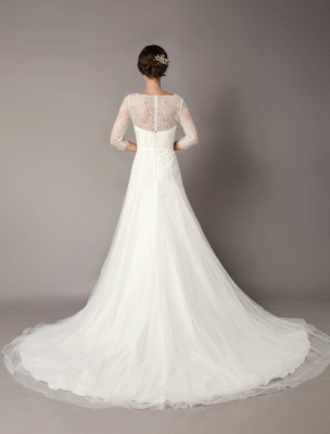 Wedding Dresses A Line Ivory V Neck Lace Tulle Half Sleeve Bridal Dress With Train_7