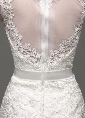Etui-Linie Lange Ärmel Illusion Zurück V-Ausschnitt Brautkleid Mit Strass Schärpe_7