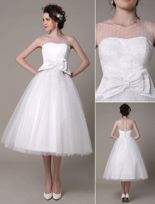 Vestido de novia de tul Sin tirantes Una línea Hasta el té Vestido de novia con lazo Exclusivo_1