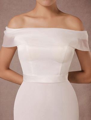 Kurzes Brautkleid Meerjungfrau Off-The-Shoulder Satin Vintage Brautkleid Rüschen Mini Braut Sommer Brautkleider 2021 Exclusive_7