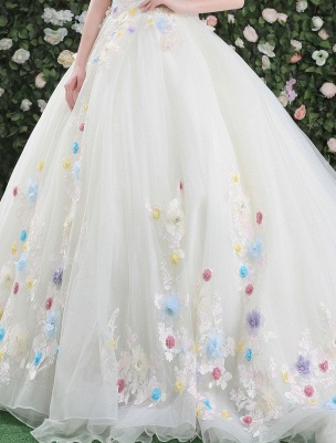 Flowers Quinceanera Dresses White Luxury Off The Shoulder Rhinestones Beading Short Sleeve Women'S Pageant Dresses With Train_7