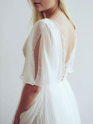 Simple Wedding Dress V Neck Half Sleeves Pleated A Line Floor Length Bridal Dresses_9