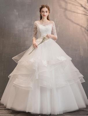 Elfenbein Brautkleider Tüll Illusion Ausschnitt Halbarm Bodenlangen Prinzessin Brautkleid_1