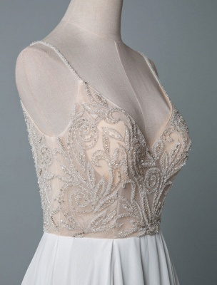 Simple Wedding Dress A Line V Neck Sleeveless Embroidered Chiffon Bridal Dresses With Train_5