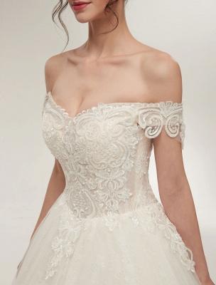 Princess Wedding Dresses Off The Shoulder Ivory Bridal Dresses Lace Applique Tulle Floor Length Ball Gowns_10