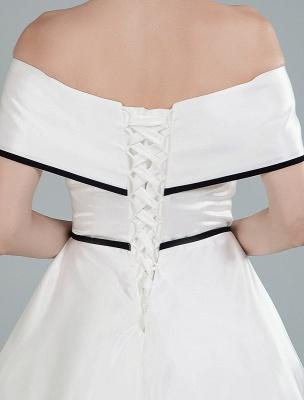 Vintage Brautkleider Satin Schulterfrei A Line Tee Länge Kurze Brautkleider Exklusiv_2