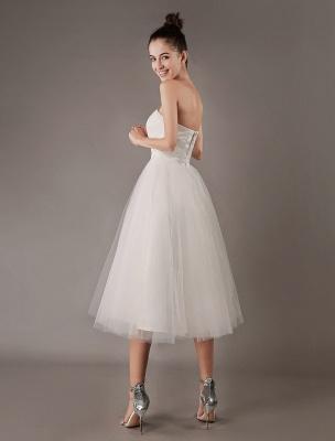 Vestidos de novia vintage Vestido de novia corto de tul sin tirantes hasta el té Exclusivo_8