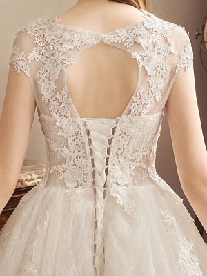 Lace Wedding Dresses Princess Bridal Gown Ivory Jewel Neck Short Sleeve Bridal Dress With Train_8