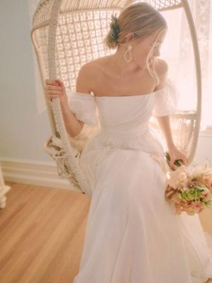 Weißes einfaches Brautkleid A-Linie schulterfrei Chiffon trägerlose lange Brautkleider_1