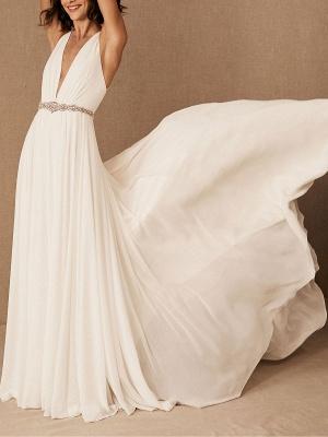 Wedding Dress Deep V-Neck Beaded Sash Chiffon Bridal Dress_1