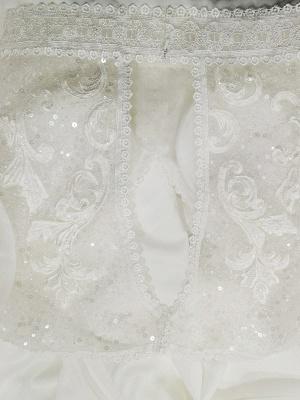 Elfenbein Einfaches Brautkleid mit Zug A-Linie V-Ausschnitt mit langen Ärmeln Spitze Brautkleider_5