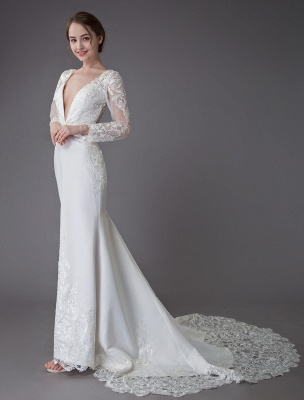 Beach Wedding Dresses Ivory Lace V Neck Long Sleeve Mermaid Bridal Gown With Train Exclusive_6