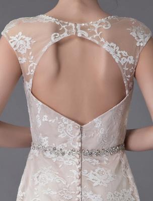 Spitzenhochzeitskleid Champagner Juwel Ärmellos Rückenfreies Meerjungfrau Brautkleid mit Schleppe Exklusiv With_10