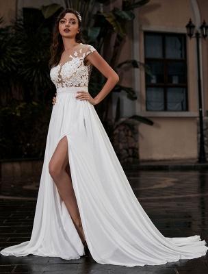 Vestido de novia Playa Corte en A Silueta Joya Cuello Encaje Corpiño Gasa Vestido de novia_1