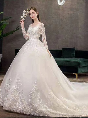 New Vintage Wedding Dresses Eric White Jewel Neck Long Sleeves Natural Waist Satin Fabric Cathedral Train Applique Traditional Dresses For Bride_4