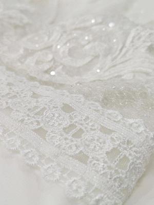 Elfenbein Einfaches Brautkleid mit Zug A-Linie V-Ausschnitt mit langen Ärmeln Spitze Brautkleider_8