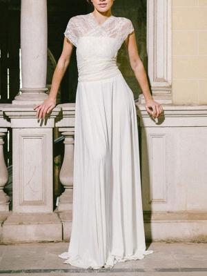 Einfache Brautkleider Mantel V-Ausschnitt Ärmellos Plissee Bodenlangen Mit Zug Spitze Brautkleider_3