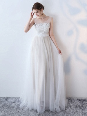 Simple Wedding Dress 2021 A Line Jewel Neck Sleeveless Bows Lace Tulle Bridal Dresses_2