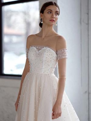Weißes Brautkleid A-Linie Brautkleider Perlen Tüll Brautkleid_3